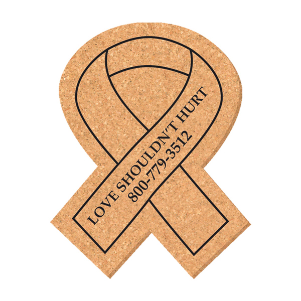 Imprinted Solid Cork Coaster - ribbon