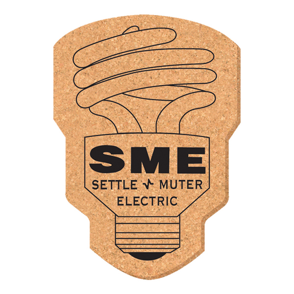 Printed Solid Cork Coaster - light bulb
