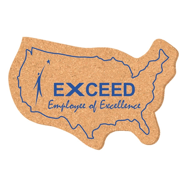 Imprinted Solid Cork Coaster -USA