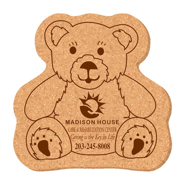Promotional Solid Cork Coaster - teddy bear