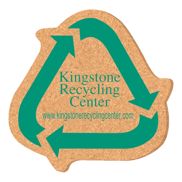 Promotional Solid Cork Coaster -recycling symbol