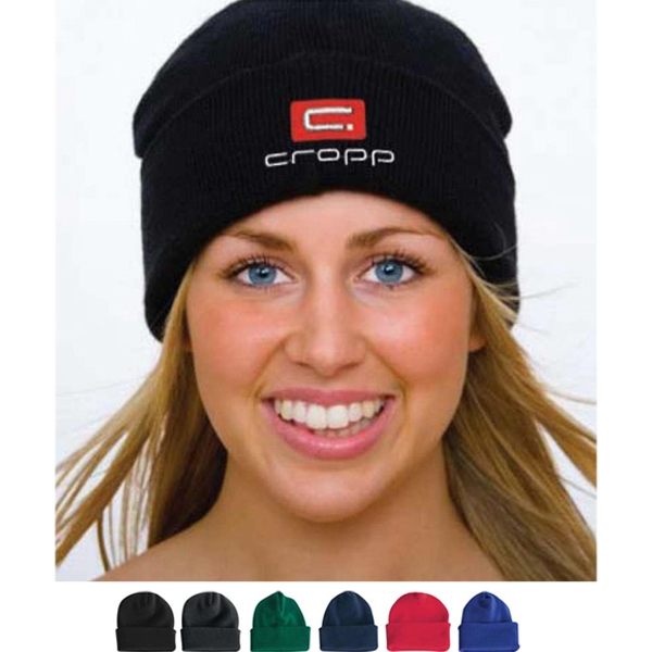 Imprinted Long Knit Beanie