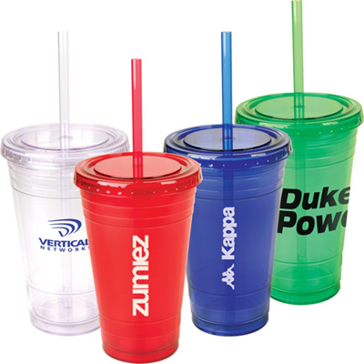 Personalized 16 oz Festa Tumbler w/ 2 Straws