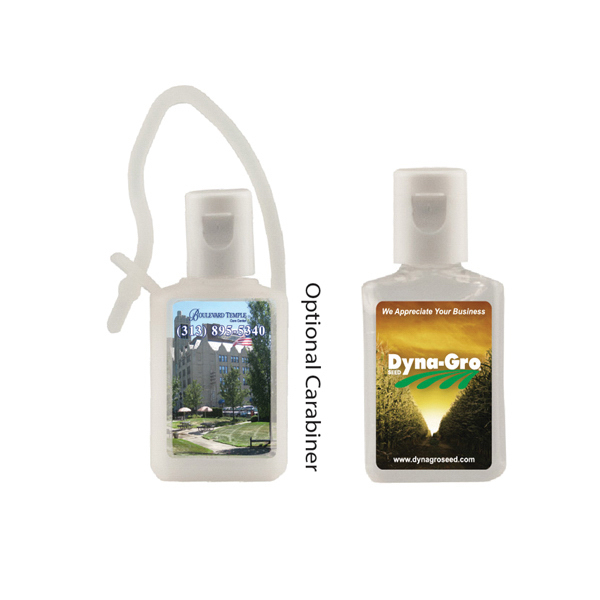 Customized 1/2 oz. Flat Antibacterial Hand Sanitizer Bottle