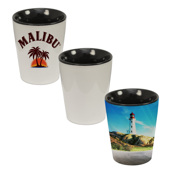 Personalized 1.5 oz Ceramic Shot Glass - Two Tone (Black)