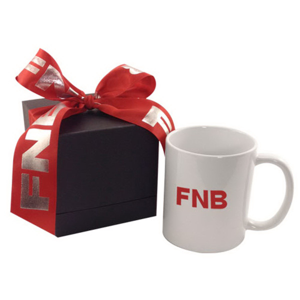 Personalized 11oz mug in deluxe black gift box with ribbon