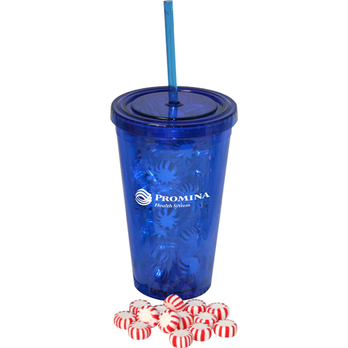 Personalized 16 oz double wall tumbler filled with starlight mints