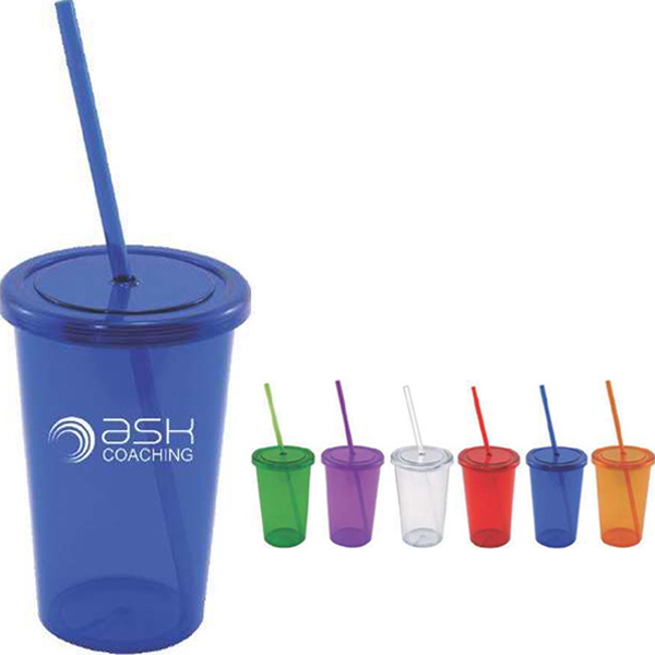 Imprinted 16 oz single wall acrylic tumbler with straw