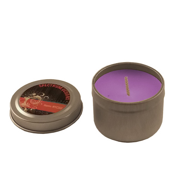 Imprinted 2 oz. Round Tin Soy Candle (Lilac) - Eco friendly