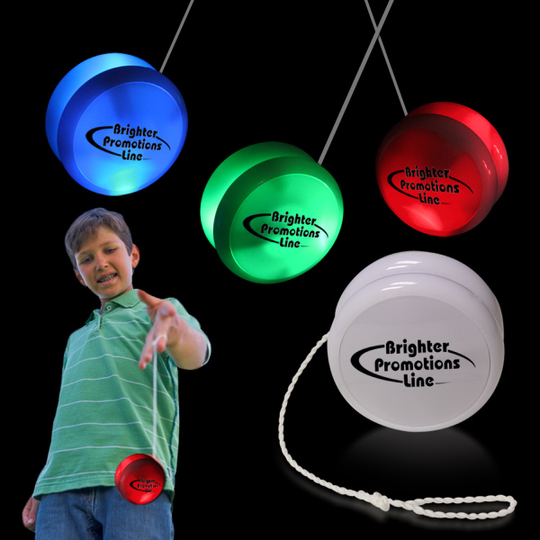 "Personalized 2"" White Plastic Light Up YoYo with Green glow LEDs"