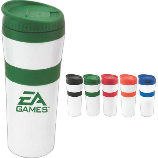 Imprinted 20 oz white stainless steel tumbler with colored accents