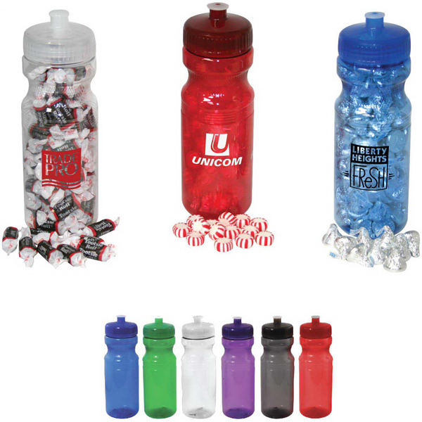 Promotional 24 oz sport bottle filled with Starlight Mints
