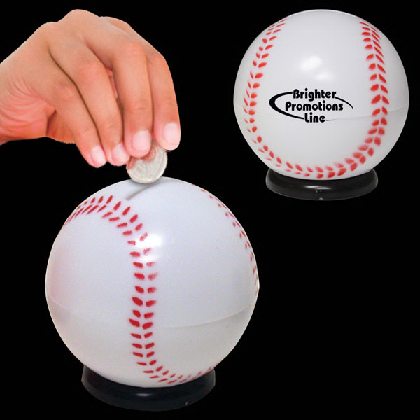 "Personalized 3 1/2"" Baseball Sports Bank"