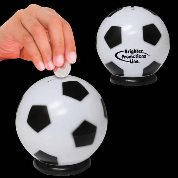"Imprinted 3 1/2"" Soccer Ball Sports Bank"