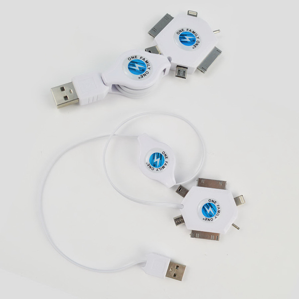 Imprinted 6 in 1 Retractable Charging Cord