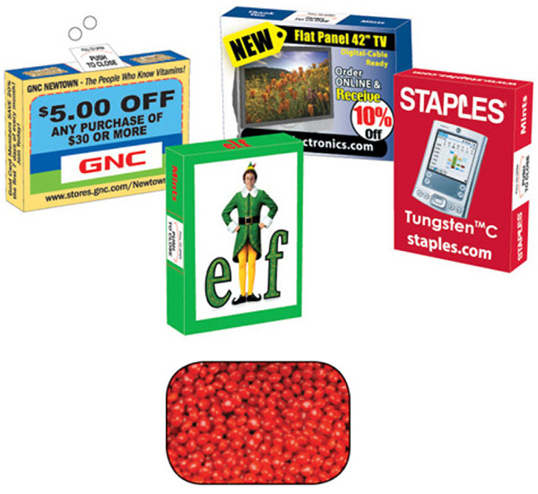 Promotional Advertising Candy/Gum Box with Cinnamon Red Hots
