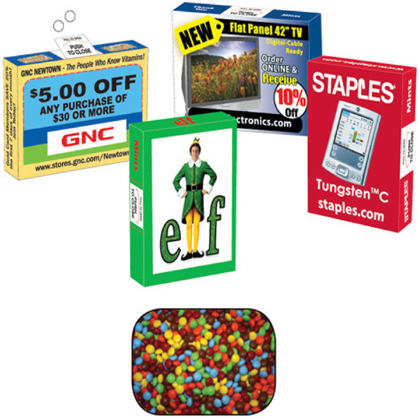 Personalized Advertising Mint/Candy and Gum Box fill with Mini Chocolate