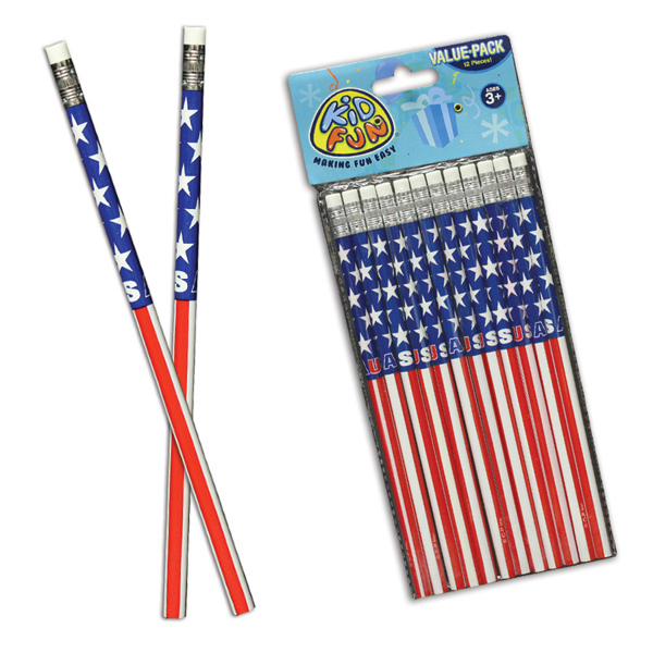 Customized American Flag Pencils