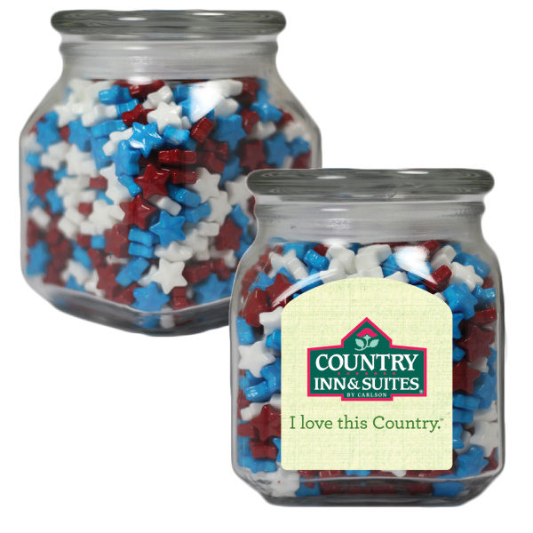 Promotional Apothecary Jar with Candy Stars - Glass Jar - Medium