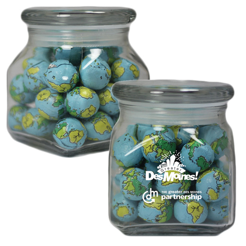Customized Apothecary Jar with Chocolate Balls - Glass Jar - Small