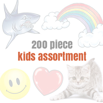 Imprinted Assorted Temporary Tattoos for Kids (200 tattoos)