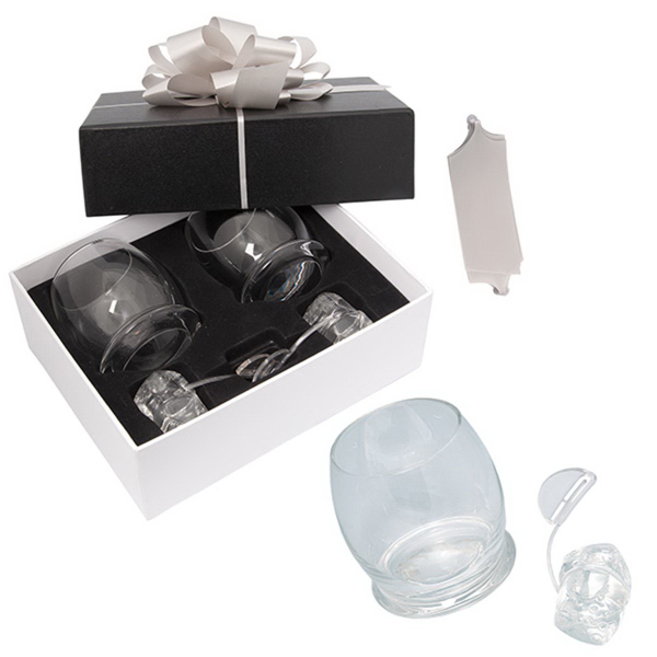 Personalized Black Label Rocking Glasses and Ice Rocks Gift Set