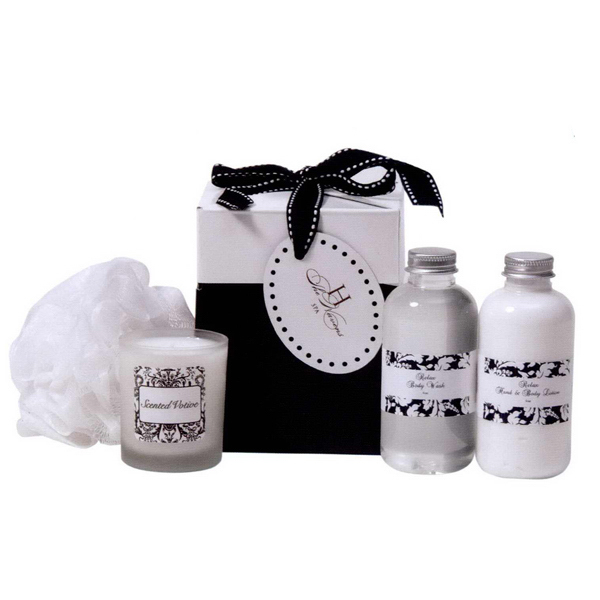 Personalized Black & White Spa Bath Time
