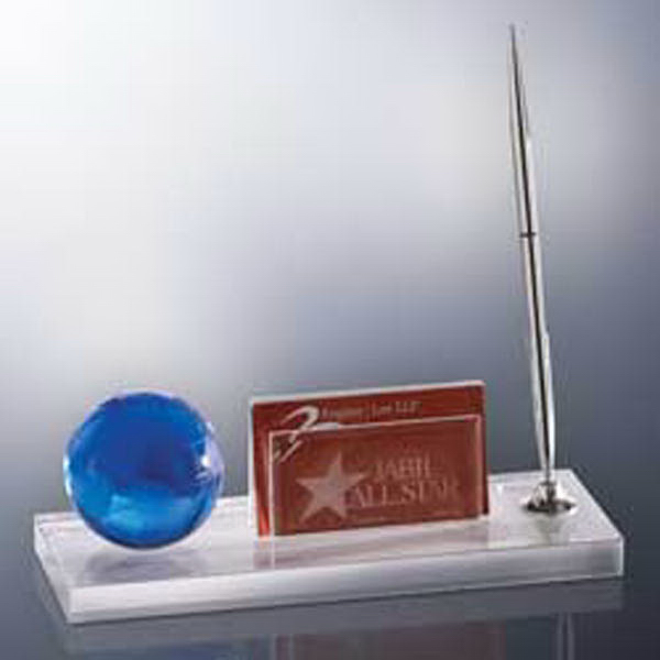 Customized Blue Globe Desk Set