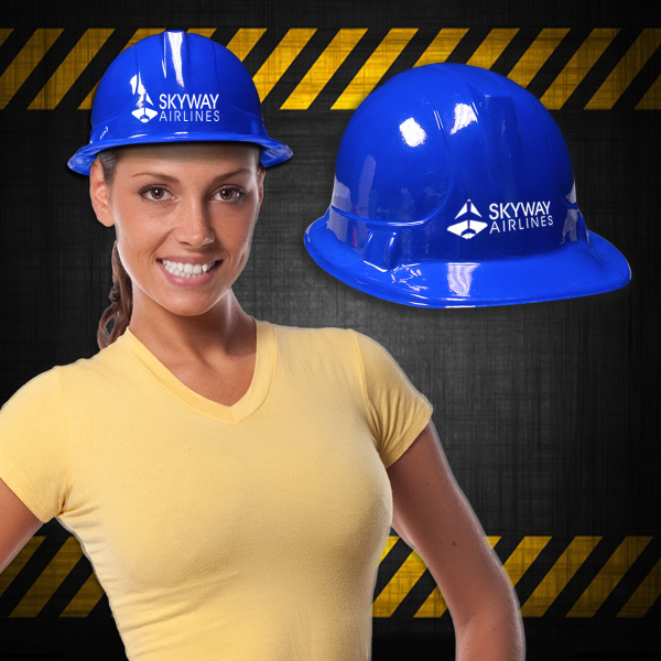Promotional Blue Plastic Novelty Construction Hat