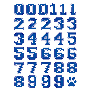 Imprinted Blue Sports Numbers Temporary Tattoo Sheet