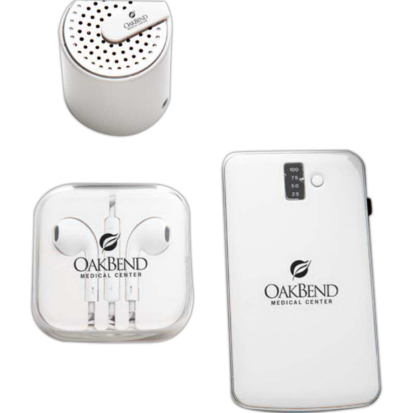 Promotional Bluetooth Speaker w/ Power Bank & High Quality Earphone Set