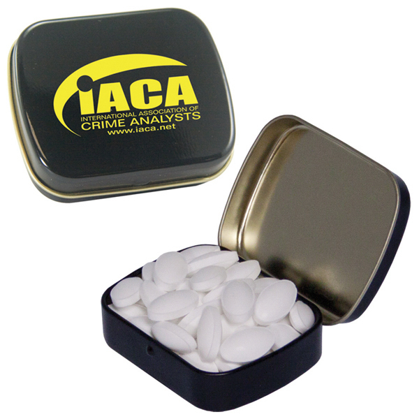 Promotional Caffeinated Black Mint Tin filled with Caffeinated Mints