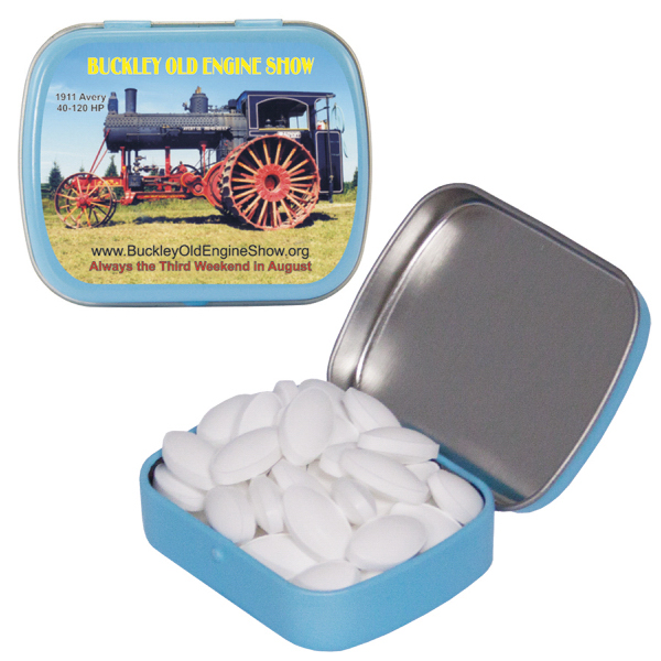 Personalized Caffeinated Light Blue Mint Tin with Caffeinated Mints
