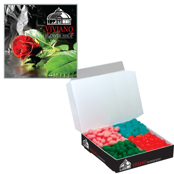 Imprinted Candy Box w/ 4 flavors - Corporate Chocolates or Jelly Beans