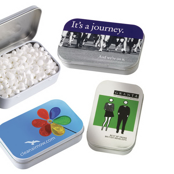Personalized Candy coated chocolate in large pocket tin