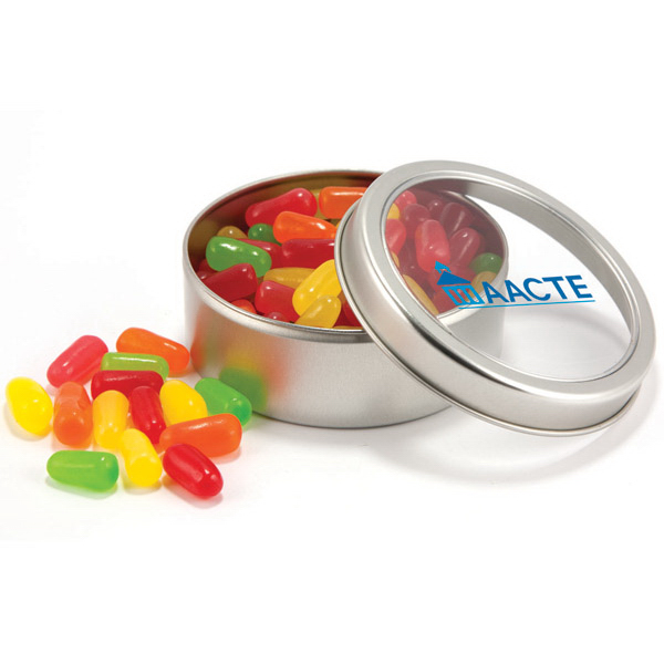 Imprinted Candy Covered Chocoalte Beads in circular tin