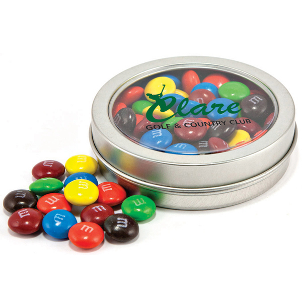 Personalized Candy covered chocolatey beads in circular window tin
