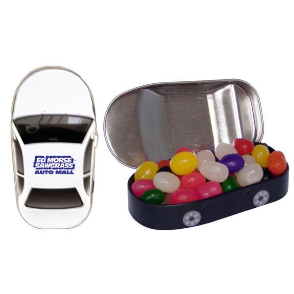 Imprinted Car Mint Tin with Jelly Beans
