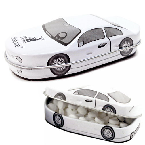 Printed Car Shape Hinged Tin Box with Cinnamon Mints