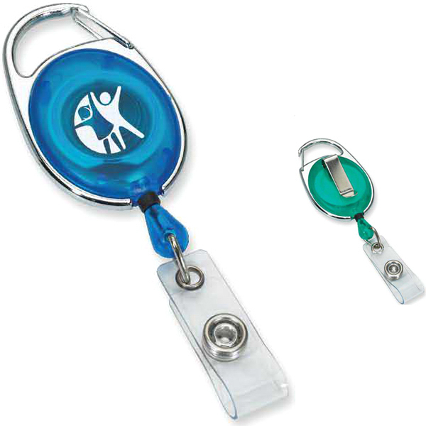 Customized Carabiner style retractable badge holder