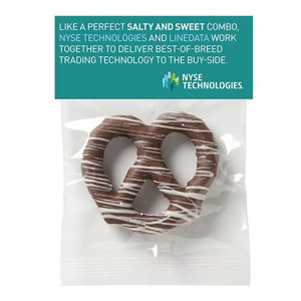 Promotional Chocolate Covered Pretzel Knot in Header Bag