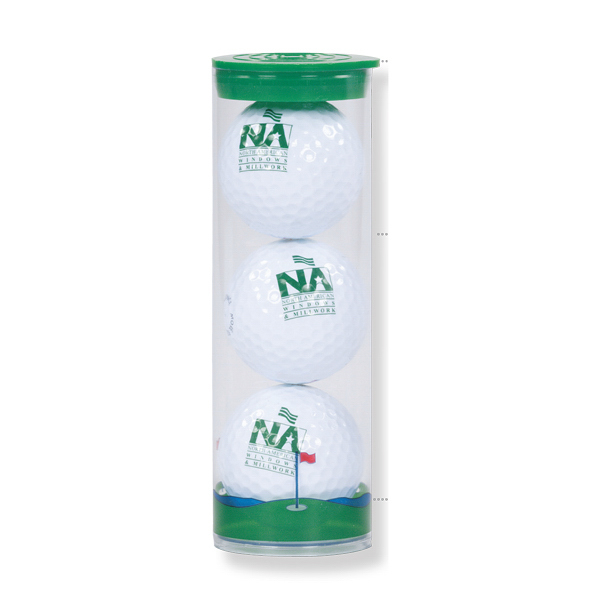 Imprinted Clear Tube with 3 Golf balls