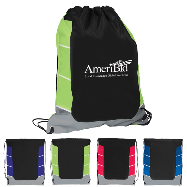 Customized Color Block Drawstring Backpack