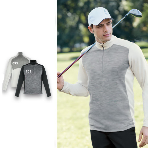 Personalized Conquer Peformance Melange Interlock Half-Zip Top
