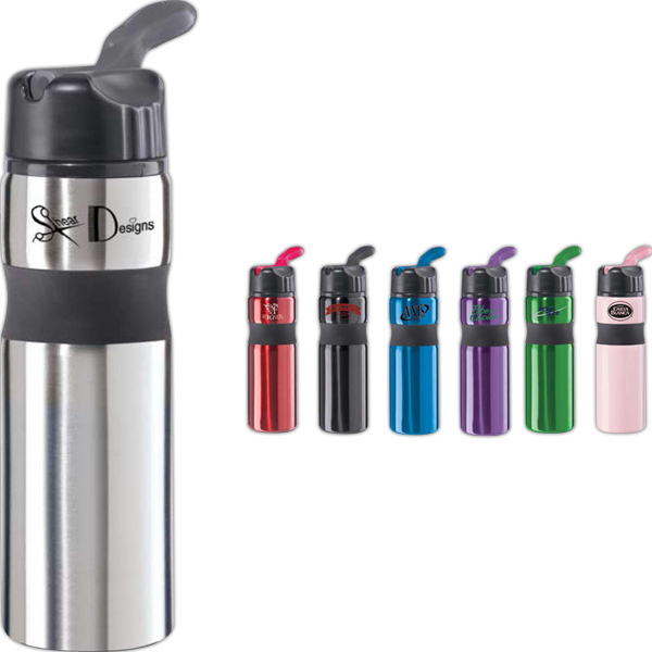 Customized Contour Stainless Steel Sports Bottle with Straw