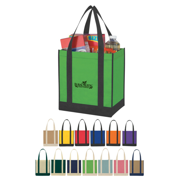 Imprinted Custom Non-Woven Two-Tone Shopper Tote Bag