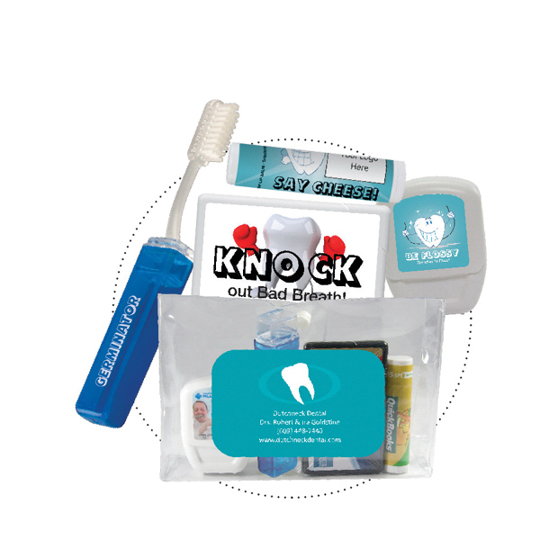 Customized Dental Kit With Toothbrush, Floss, Mints, and Lip Balm