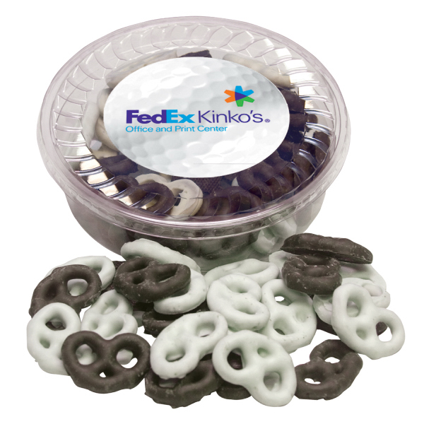 Printed Designer Plastic Tray with Chocolate Covered Pretzel