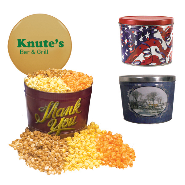 Imprinted Designer Two Gallon Popcorn Tin - Three Flavors, Flag and St