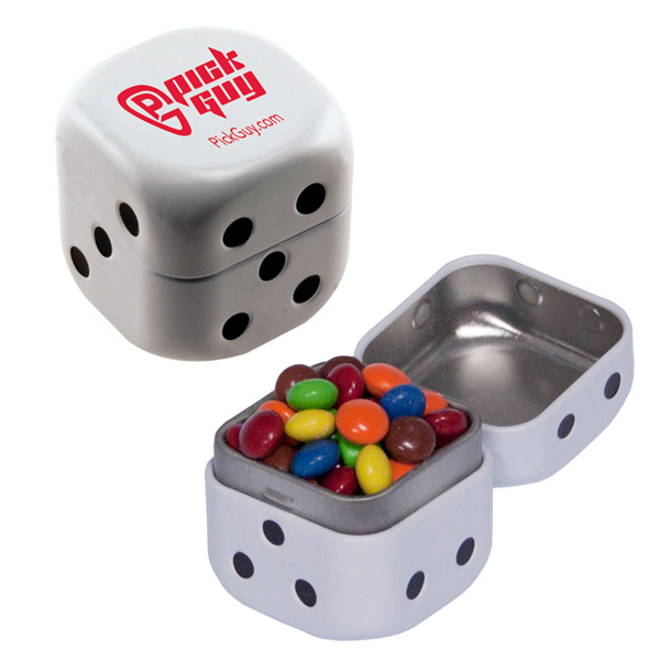 Personalized Dice Mint Tin with Chocolate Littles